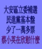 大安區立委補選民進黨基本盤少了一萬多票,蔡小英在欣慰什麼?