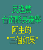 民進黨台南縣長選舉  阿生的三個如果