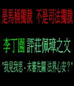 是馬桶獨裁 不是司法獨裁 ◎李丁園評莊佩璋之文