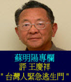 評 王慶祥「台灣人緊急逃生門 」 ◎蘇明陽