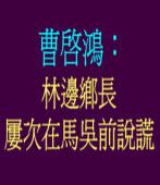 曹啟鴻︰林邊鄉長 屢次在馬吳前說謊
