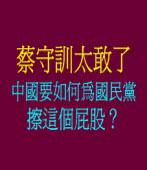 蔡守訓太敢了--中國要如何為國民黨擦這個屁股?