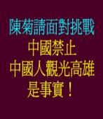 中國禁止中國人觀光高雄是事實!希望高雄市長陳菊面對挑戰