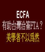 ECFA有助台灣洽簽FTA?美學者不以為然
