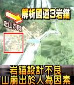 岩錨設計不良, 臺灣國道3號山崩出於人為