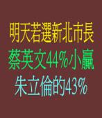 明天若選新北市長 蔡英文以44%小贏朱立倫的43%
