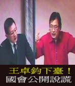 王卓鈞下臺!國會公開說謊