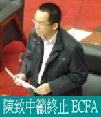 陳致中籲終止 ECFA