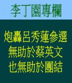 炮轟呂秀蓮參選無助於蔡英文也無助於團結| 李丁園專欄|台灣e新聞