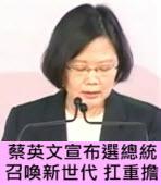 蔡英文宣布選總統 :召喚新世代 扛重擔 |台灣e新聞