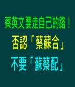 蔡英文要走自己的路!不要「蔡蘇合」也不要「蘇蔡配」|台灣e新聞