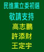敬請支持 高志鵬、 許添財、 王定宇《一邊一國連線》 立委初選參選人|台灣e新聞