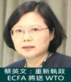 蔡英文:重新執政,ECFA 將送 WTO|台灣e新聞
