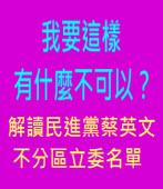 我要這樣有什麼不可以? - 解讀民進黨蔡英文不分區立委名單∣台灣e新聞