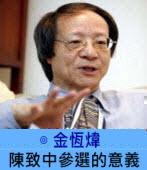 陳致中參選的意義 ∣◎ 金恆煒|台灣e新聞