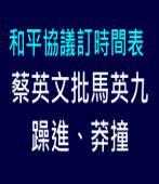和平協議訂時間表 蔡英文批馬英九躁進、莽撞|台灣e新聞