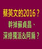 蔡英文的2016?幹掉蘇貞昌、深綠獨派&阿扁?|台灣e新聞