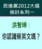 洪智坤:你認識蔡英文嗎?