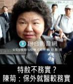 特赦不務實?  陳菊:保外就醫較務實 |台灣e新聞
