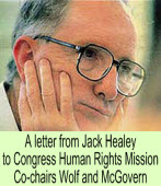 A letter from Jack Healey to Congress Human Rights Mission Co-chairs Wolf and McGovern∣◎Jack Healey|台灣e新聞
