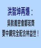 洪智坤再爆:吳敦義密會鄒若齊,要中鋼完全配合林益世! |台灣e新聞