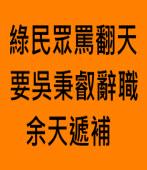 綠民眾罵翻天 要吳秉叡辭職 余天遞補 |台灣e新聞