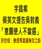 宇昌案╱蔡英文提告吳敦義「意圖使人不當選」許忠信:應提馬當選無效之訴∣台灣e新聞