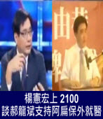 楊憲宏上 2100  談郝龍斌支持阿扁保外就醫∣台灣e新聞