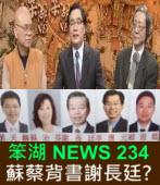 《笨湖 NEWS 234》蘇蔡背書謝長廷? 民進黨放棄台獨?|台灣e新聞