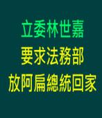 立委林世嘉要求法務部放阿扁總統回家∣台灣e新聞