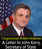 Letter from Congressman Robert Andrews to John Kerry, Secretary of State‏