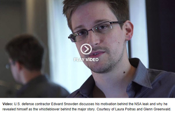 U.S. defense contractor Edward Snowden discusses his motivation behind the NSA leak and why he revealed himself as the whistleblower behind the major story. Courtesy of Laura Poitras and Glenn Greenwald