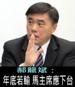 郝龍斌:年底選戰若輸,馬主席應下台負責 -台灣e新聞