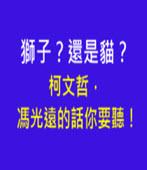 獅子?還是貓?柯文哲,馮光遠的話你要聽!-台灣e新聞