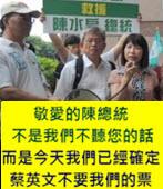 敬愛的陳總統, 不是我們不聽您的話!而是今天我們已經確定, 蔡英文不要我們的票 -台灣e新聞
