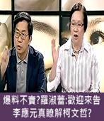 爆料不實?羅淑蕾:歡迎來告 李應元真瞭解柯文哲?- 台灣e新聞