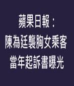 蘋果日報:陳為廷襲胸女乘客 當年起訴書曝光- 台灣e新聞