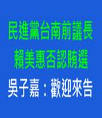 民進黨台南前議長賴美惠否認賄選 吳子嘉:歡迎來告- 台灣e新聞