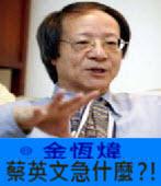 〈金恆煒專欄〉蔡英文急什麼?! -台灣e新聞