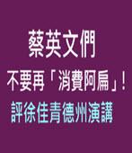 蔡英文們不要再「消費阿扁」!評徐佳青德州演講- 台灣e新聞