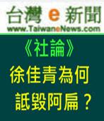 【台灣e新聞社論】徐佳青為何詆毀阿扁? - 台灣e新聞