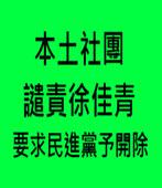 本土社團譴責徐佳青 要求民進黨予開除 -台灣e新聞