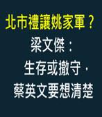 北市禮讓姚家軍? 梁文傑:生存或撤守,蔡英文要想清楚-台灣e新聞
