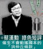催生不會動搖國本的「洪仲丘條款」∣◎ 蔡漢勳∣台灣e新聞