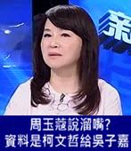 周玉蔻說溜嘴? 資料是柯文哲給吳子嘉 - 台灣e新聞