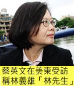 蔡英文在美東受訪 稱林義雄「林先生」- 台灣e新聞