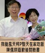 指颱風天柯P整天在家吃飯 陳佩琪道歉後關臉書- 台灣e新聞