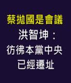 蔡拋國是會議 洪智坤:彷彿本黨中央已經遷址 - 台灣e新聞