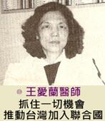 王愛蘭醫師:抓住一切機會 推動台灣加入聯合國  -台灣e新聞