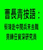 曹長青按語:蔡瑋赴中閱兵未去職 竟轉任資深研究員 - 台灣e新聞